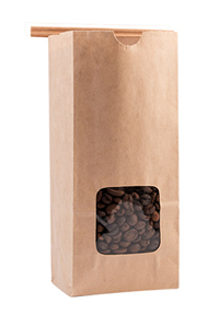 100% Recycled Paper Bag with Window and Tin Ties