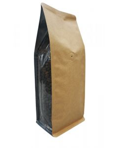 16oz. (450g) Kraft Foil Square Bottom Bags with Clear Gusset